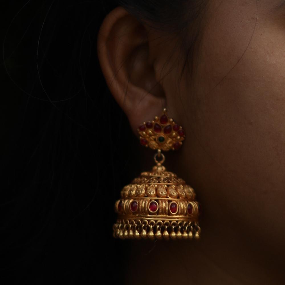 Temple Jewellery Jhumka-9357