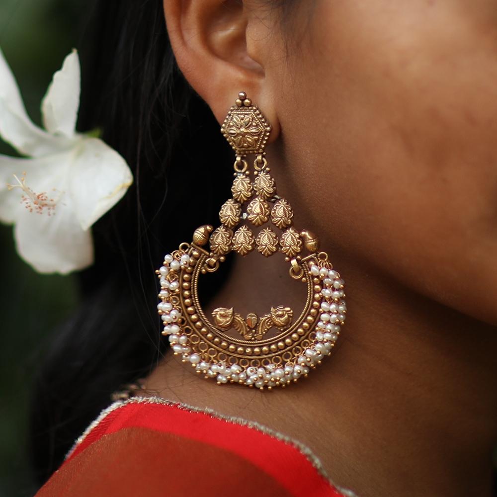 Antique-look Silver Earring-9370