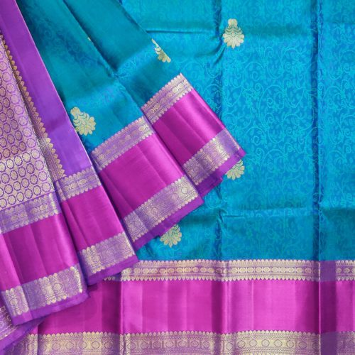 Subtly Beautiful Blue and Pink Kanchipuram Silk Saree