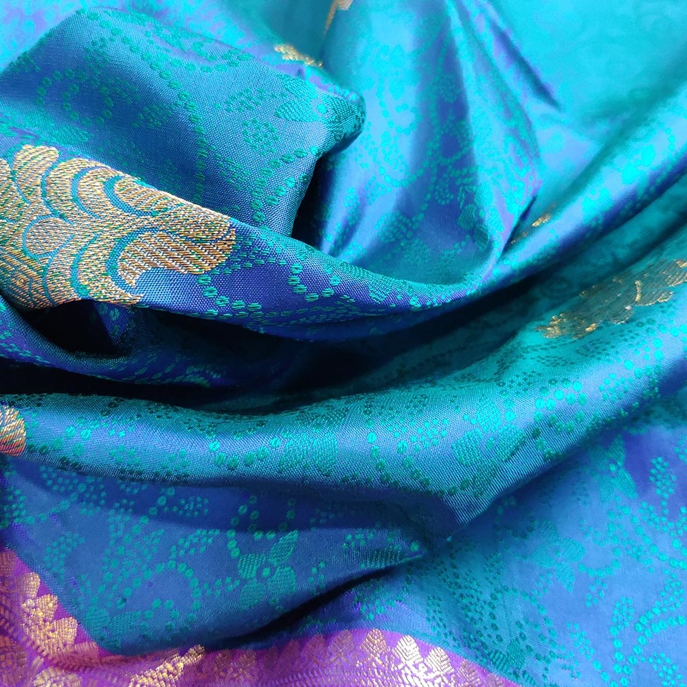 Subtly Beautiful Blue and Pink Kanchipuram Silk Saree