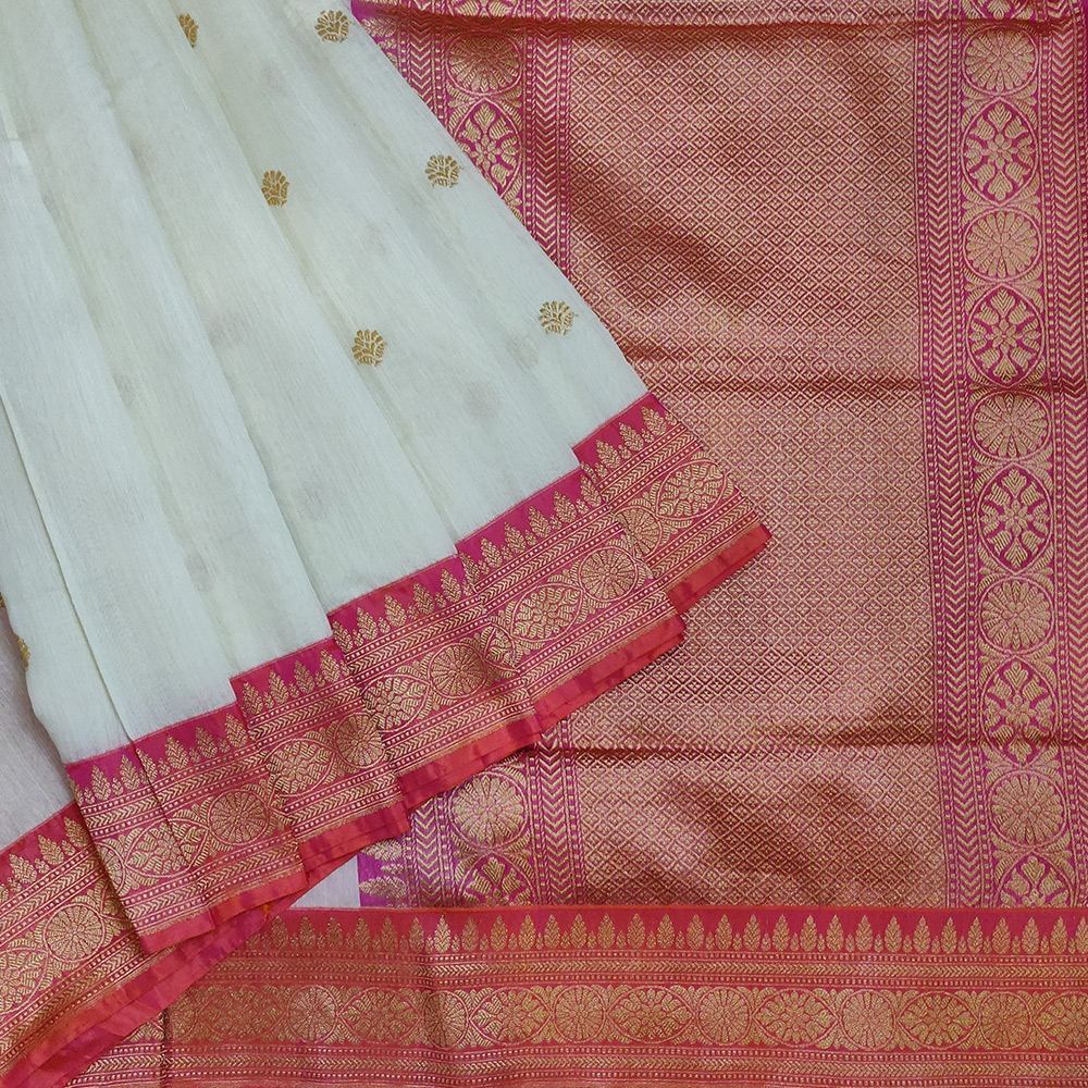 White Banarasi Silk With Double Shaded Red-Pink Border-0