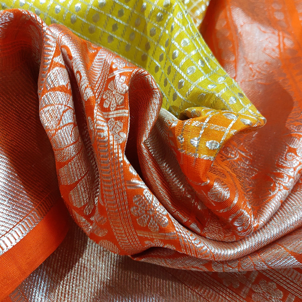 Golden Pear Kanchipuram Silk Saree With Orange Border-9484