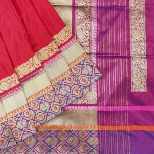 Crimson Red Banarasi Silk Saree-0