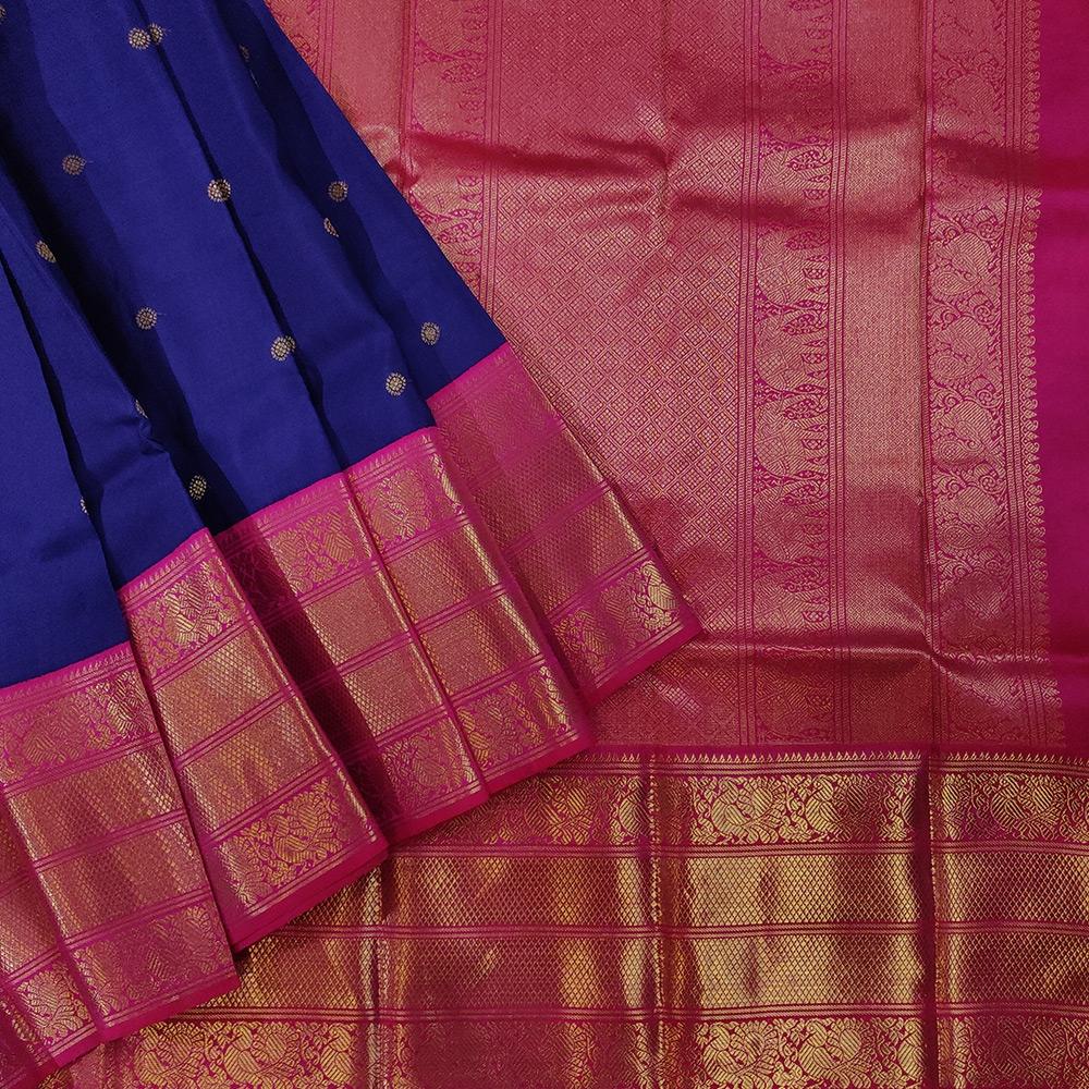 Dark Blue Kanchipuram Silk Saree With Pink Border-0