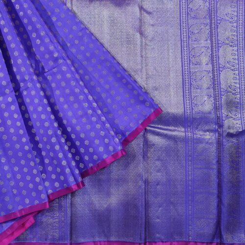 Dark Blue Kanchipuram Silk Saree -0