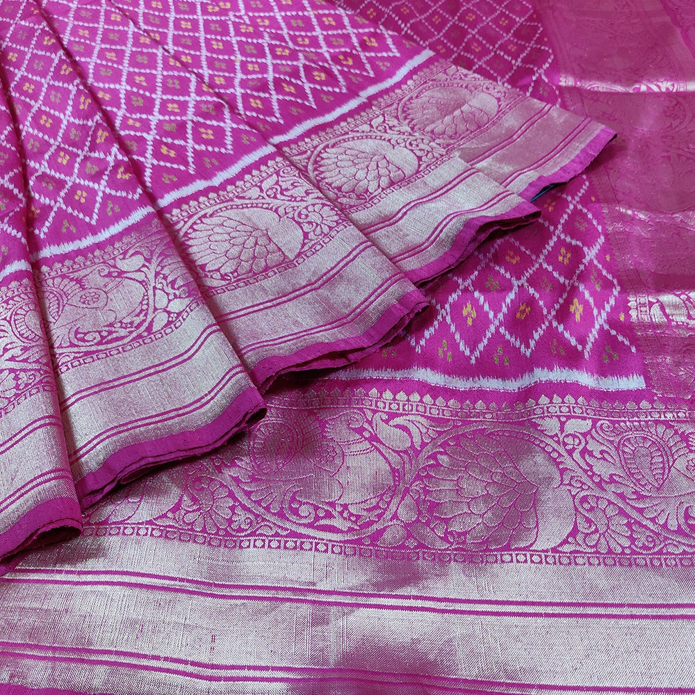 Pink Patola Silk Saree-7809