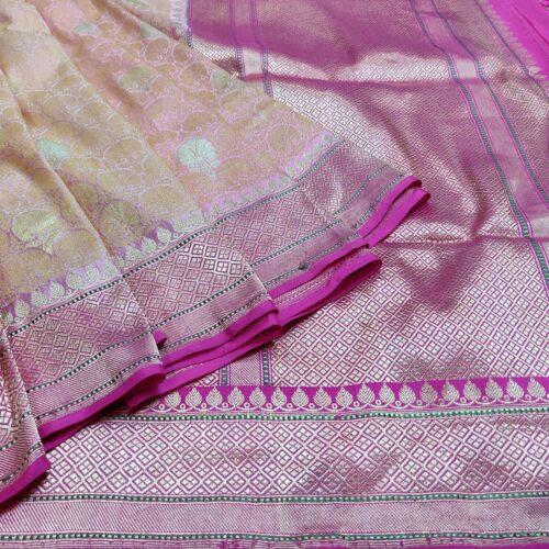 Light Purple Banarasi Saree With Golden Motiffs