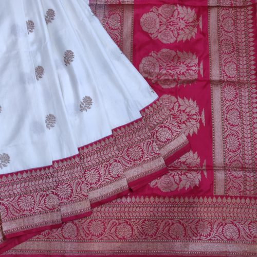 White And Red Banarasi Silk Saree With Golden Motiff
