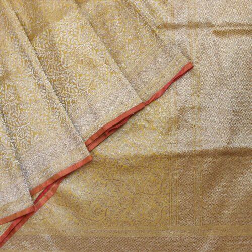 Golden Yellow Handwoven Banarasi Silk Saree With Silver Zari Jaal Work-0