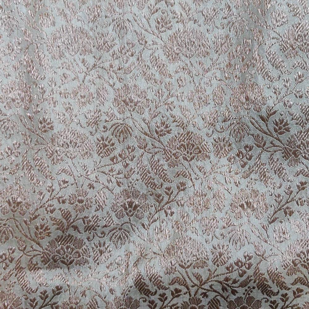 Grey Banarasi Handwoven Silk Saree with Copper zari jaal work-9902