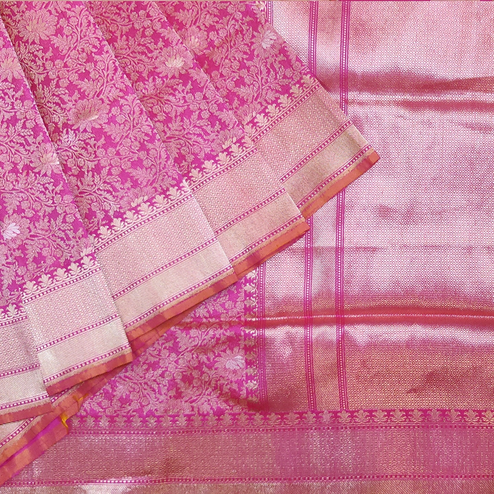 Hot Pink Banarasi Handwoven Silk Saree With Golden Zari Jaal Work-0