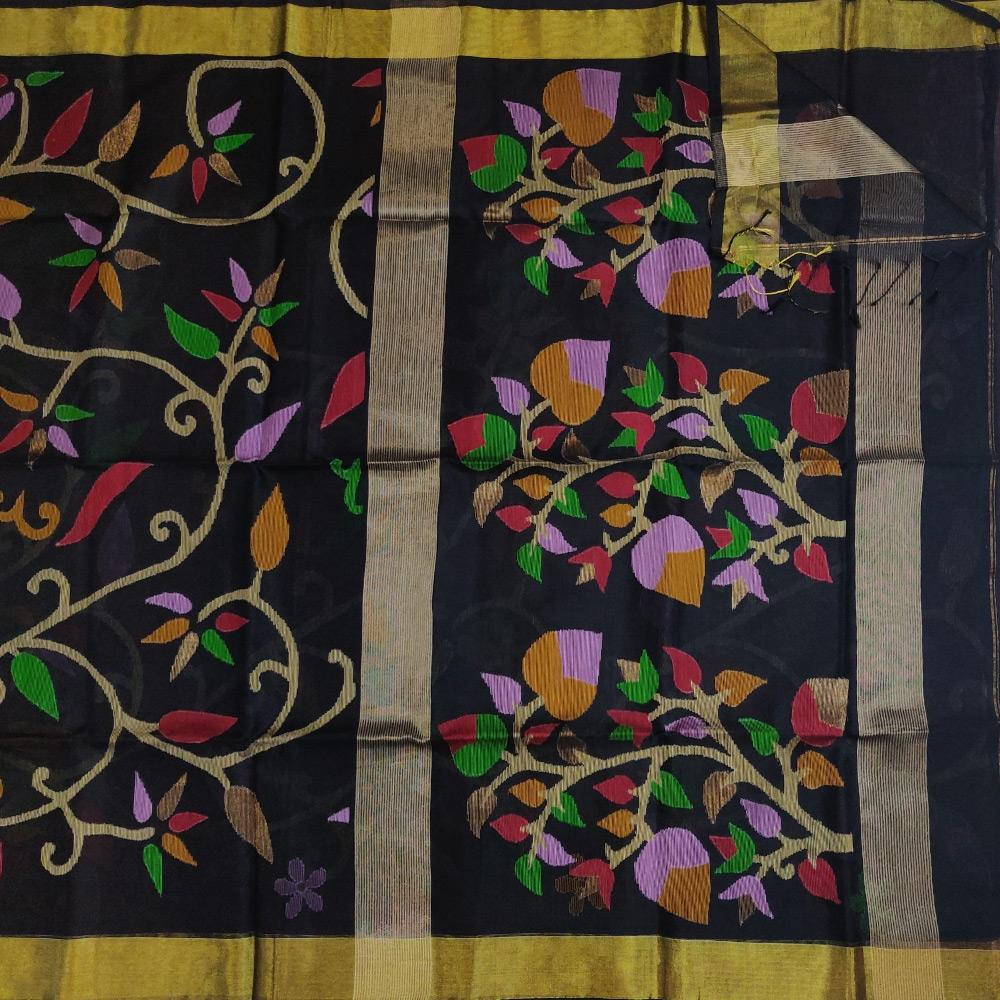 Black Jamdhani saree with floral vines-9701