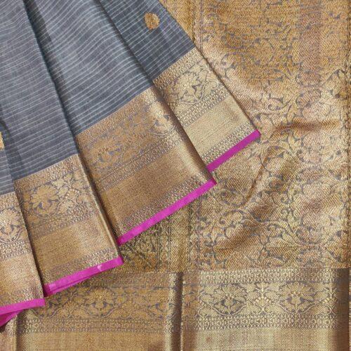 Grey Banarasi Silk With Golden Buttas And Zari Border-0
