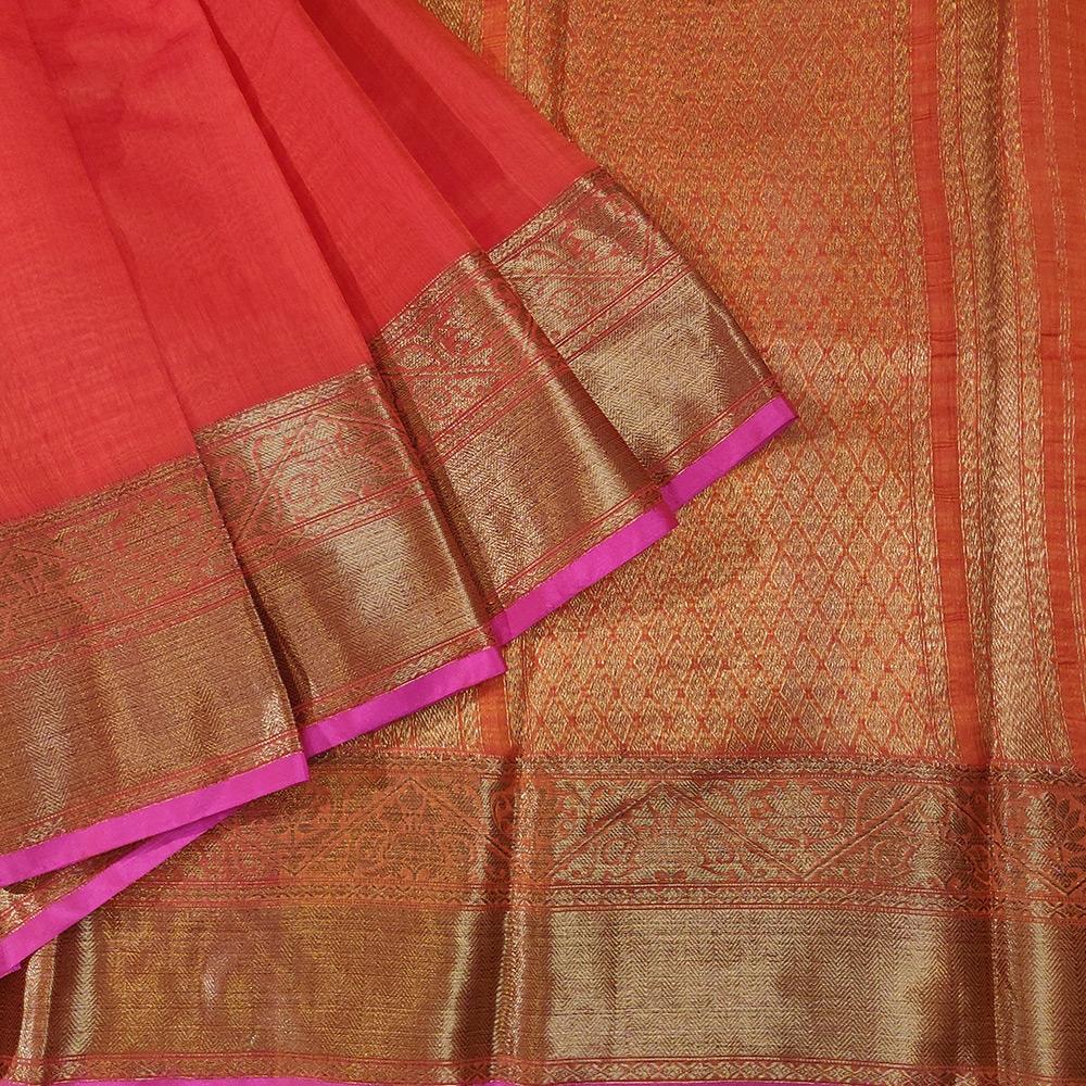 Scarlet Red Banarasi silk with zari border-0