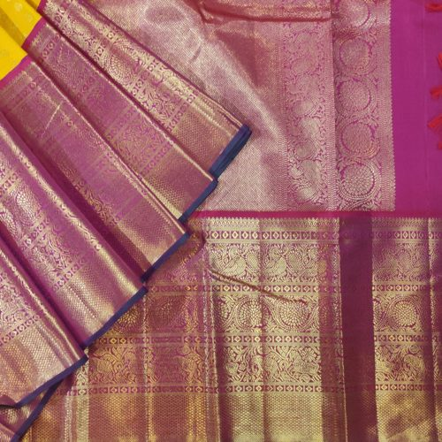 Yellow Kanchipuram Silk Saree with Magenta Border-0