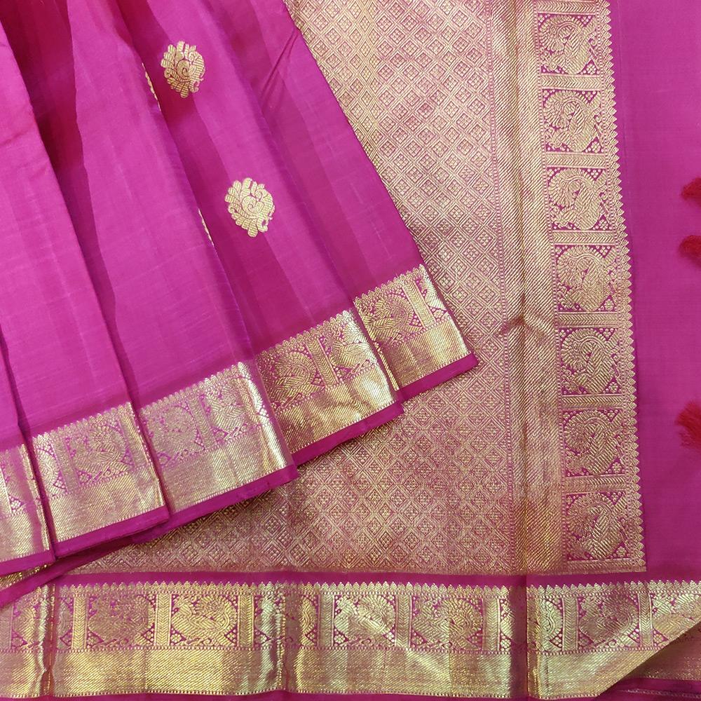 Magenta Kanchipuram Handloom Silk Saree-0