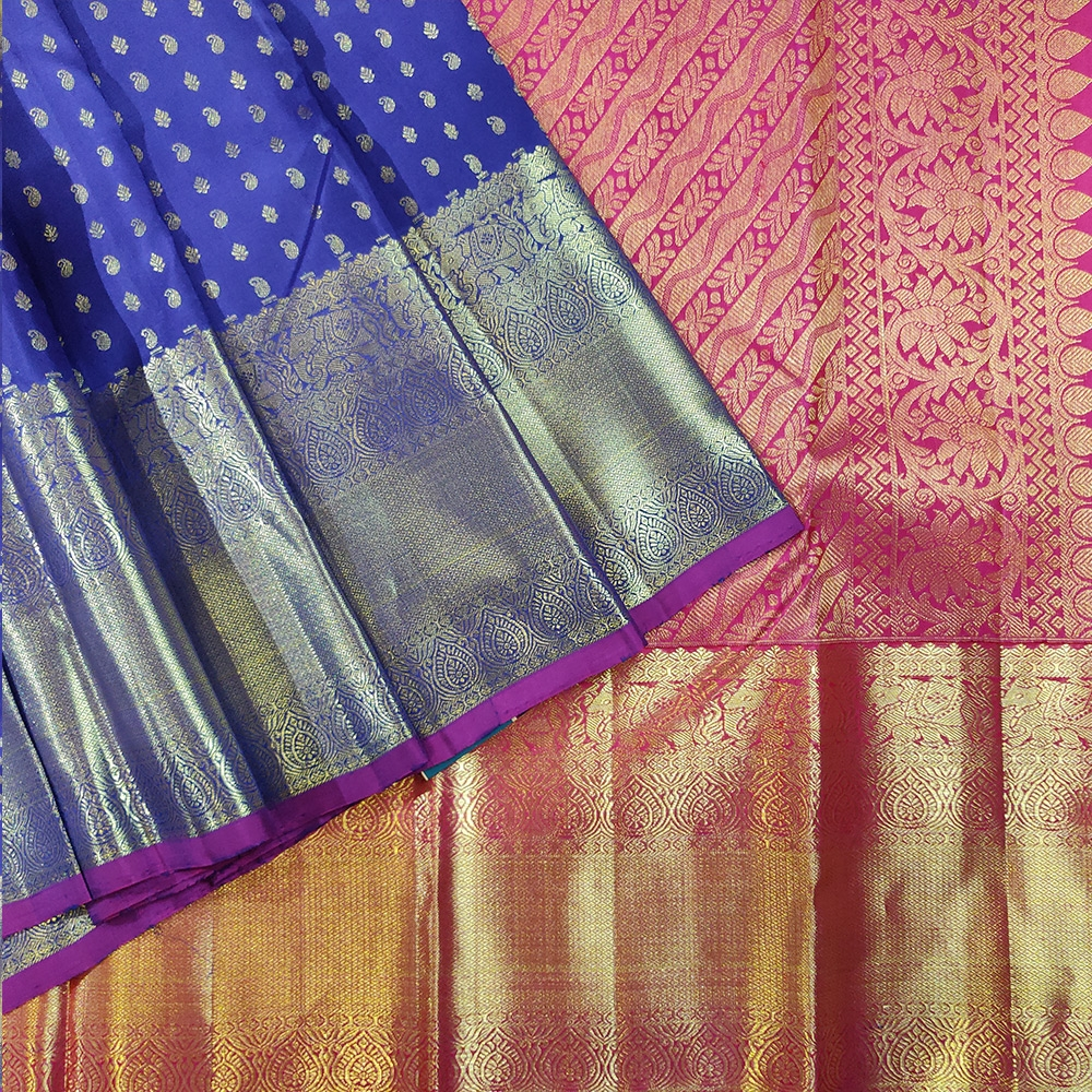 Admiral Blue Kanchipuram Handloom Silk Saree With Bright Pnk Pallu-0