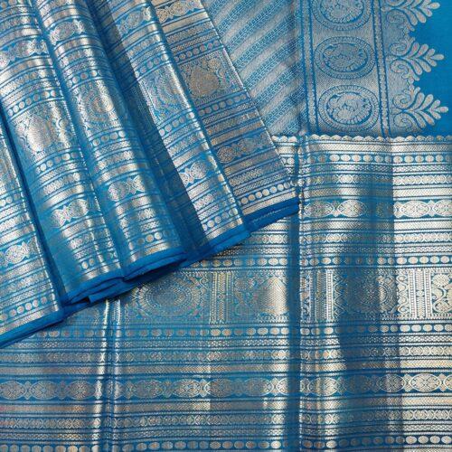 Cobalt Blue Kanchipuram Handloom Silk Saree With Silver Zari Work-0