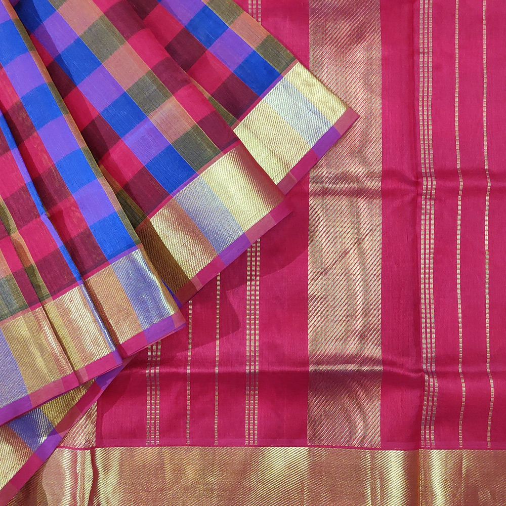 Blue And Maroon Checked Silk Cotton Saree-0