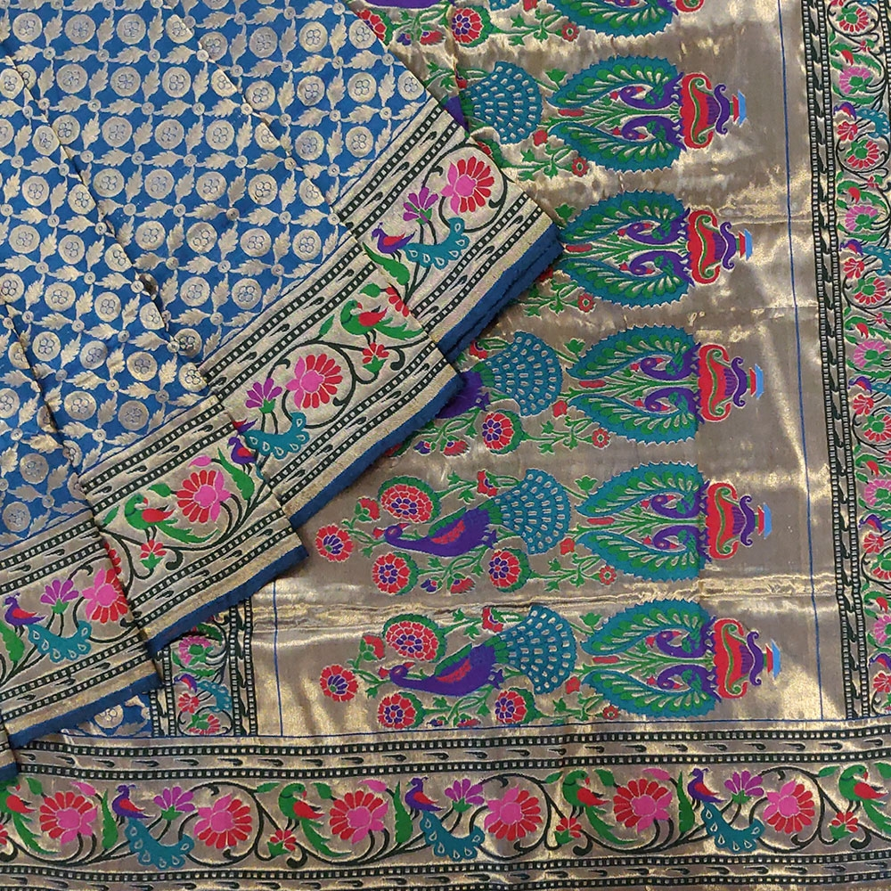 Peacock Blue Pure Banarasi Handloom Silk Saree -0