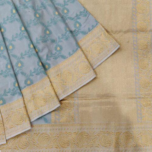 Grey Pure Banarasi Handloom Silk Saree -0