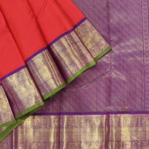 Red Kanchipuram Silk Saree With A Purple Zari Border-0