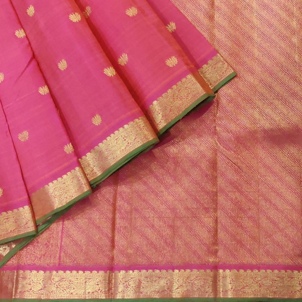 Pink Kanchipuram Silk Saree With a Zari Border-0