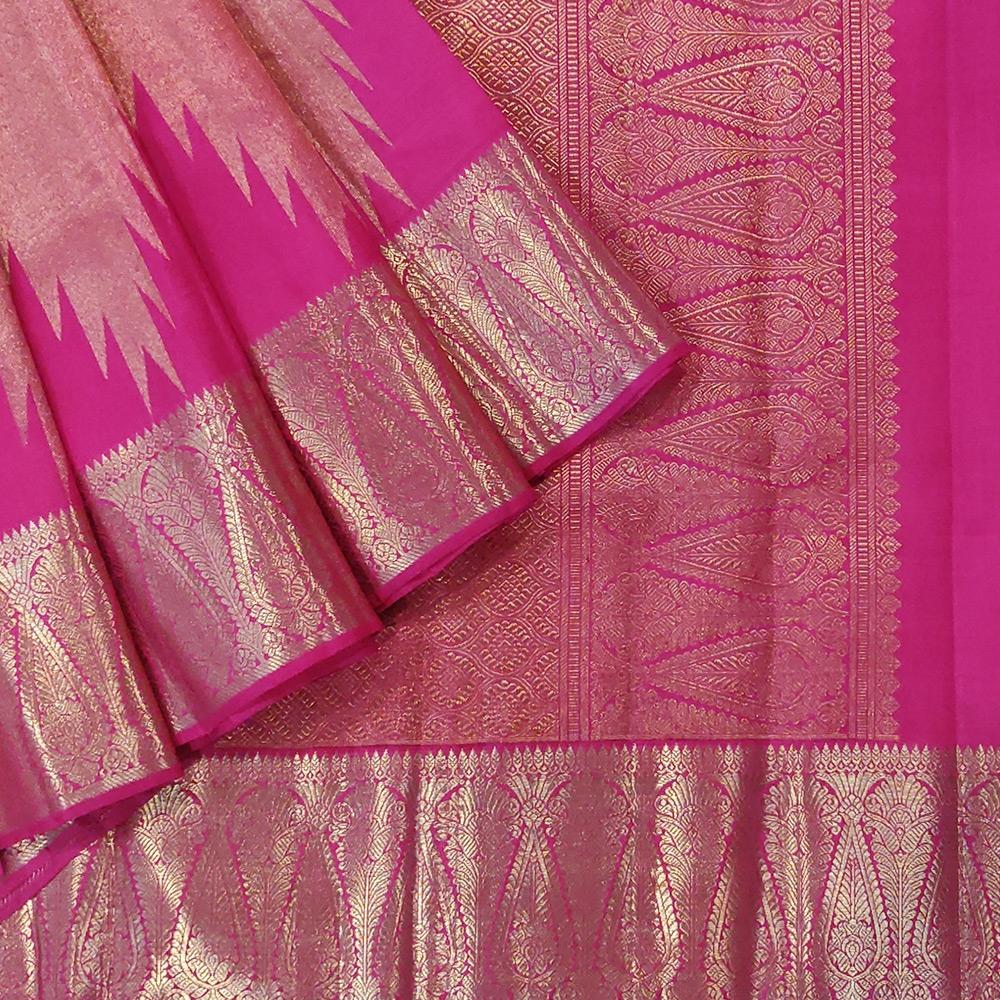 Pink Kanchipuram Silk Saree With Temple And Leaf Zari Designs-0