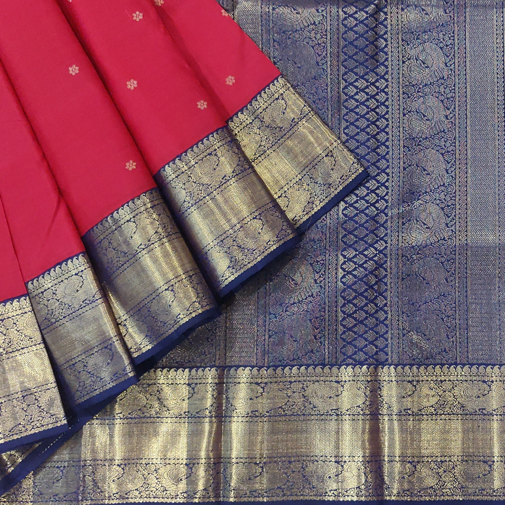 Red Kanchipuram Silk Saree With Blue Zari Border-0