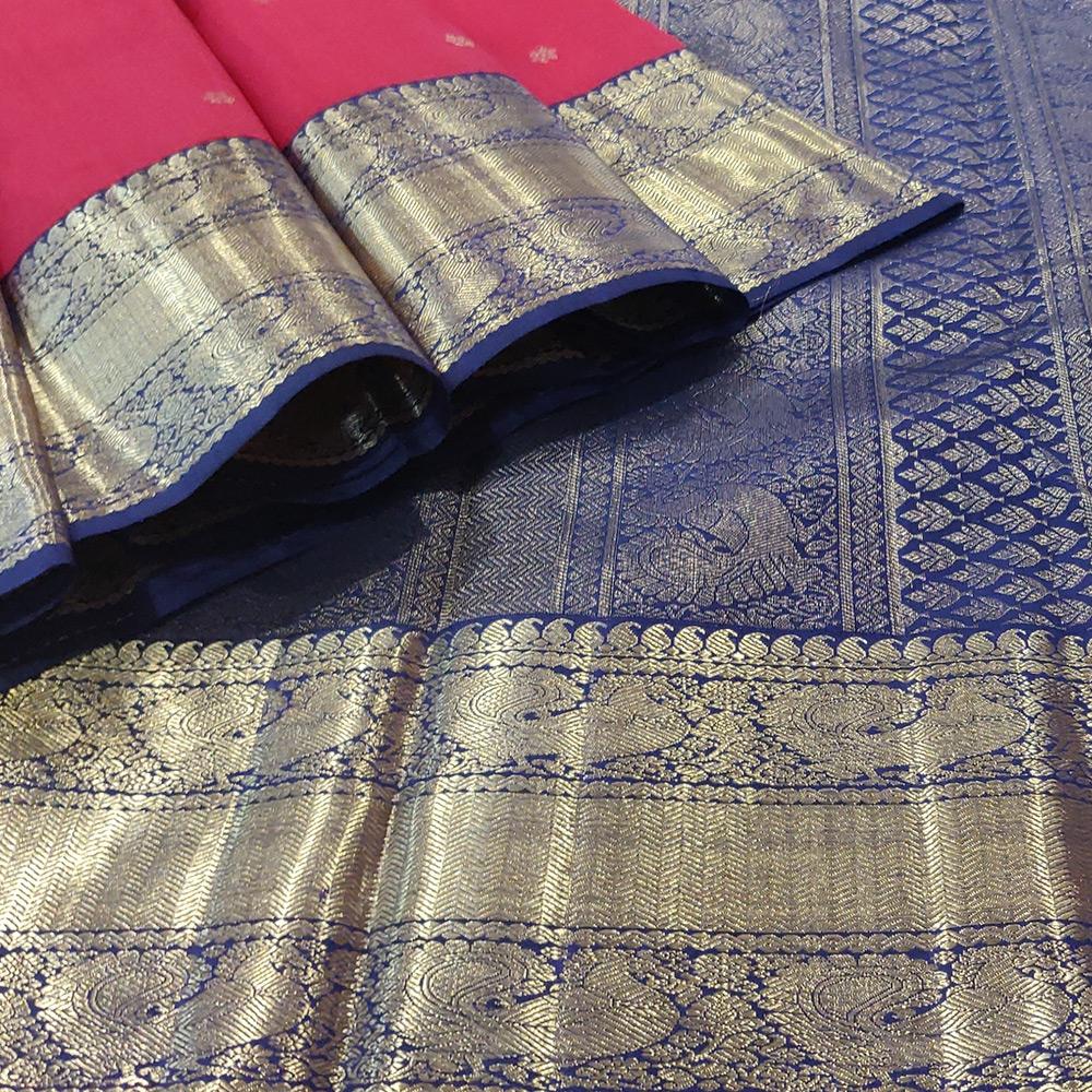 Red Kanchipuram Silk Saree With Blue Zari Border-10032