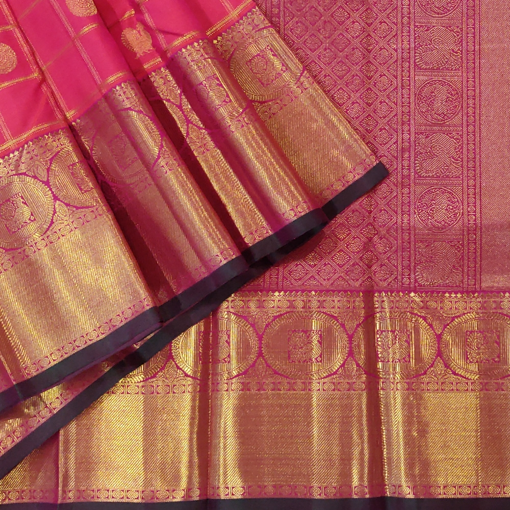 Reddish Pink Kanchipuram Silk Saree With Checked Zari And A Grand Border -0