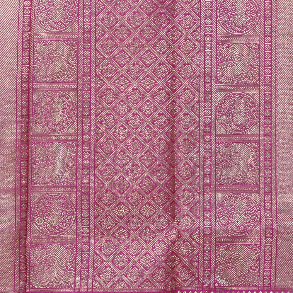 Reddish Pink Kanchipuram Silk Saree With Checked Zari And A Grand Border -10040