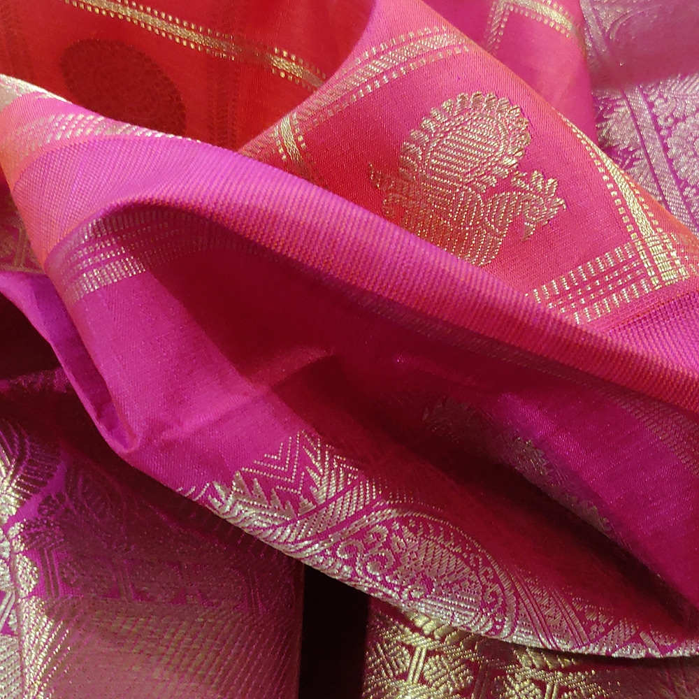 Reddish Pink Kanchipuram Silk Saree With Checked Zari And A Grand Border -10037