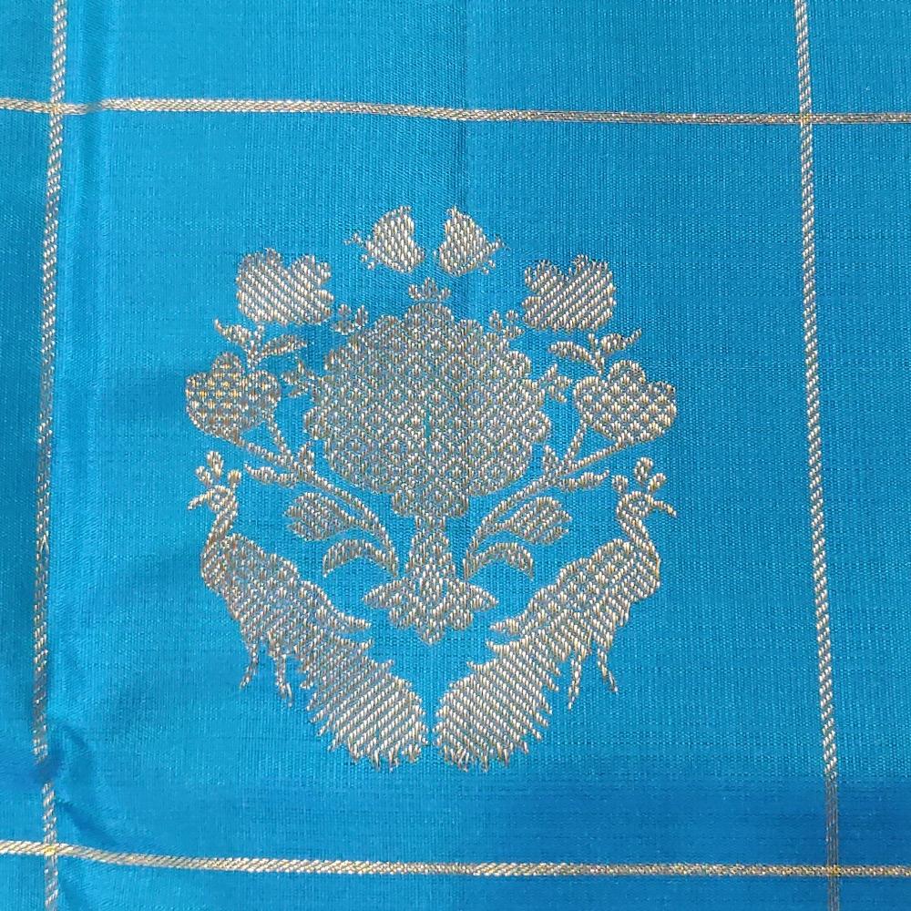 Deep Sky Blue Kanchipuram Silk Saree With Checked Zari-10042