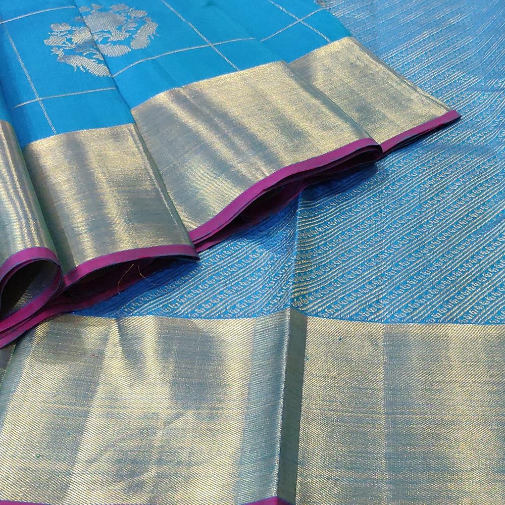 Deep Sky Blue Kanchipuram Silk Saree With Checked Zari-10045
