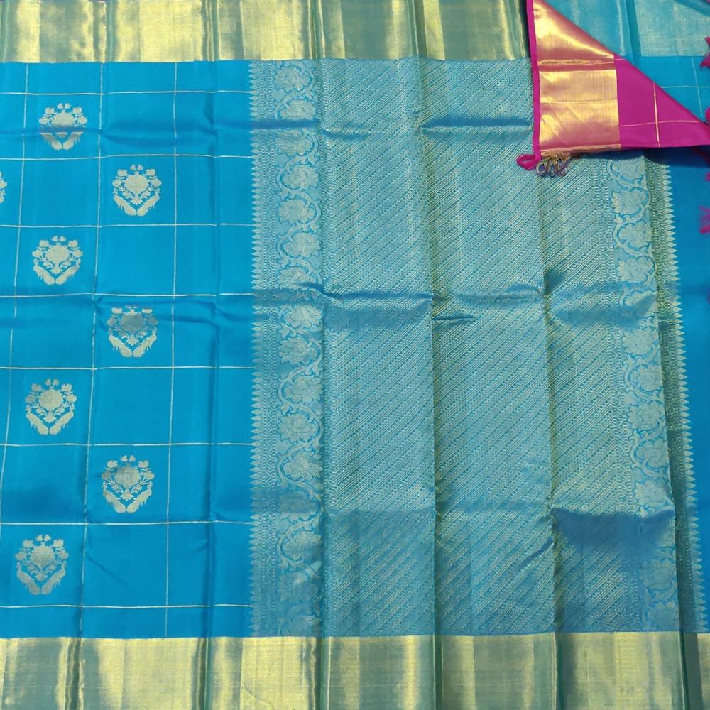 Deep Sky Blue Kanchipuram Silk Saree With Checked Zari-10043
