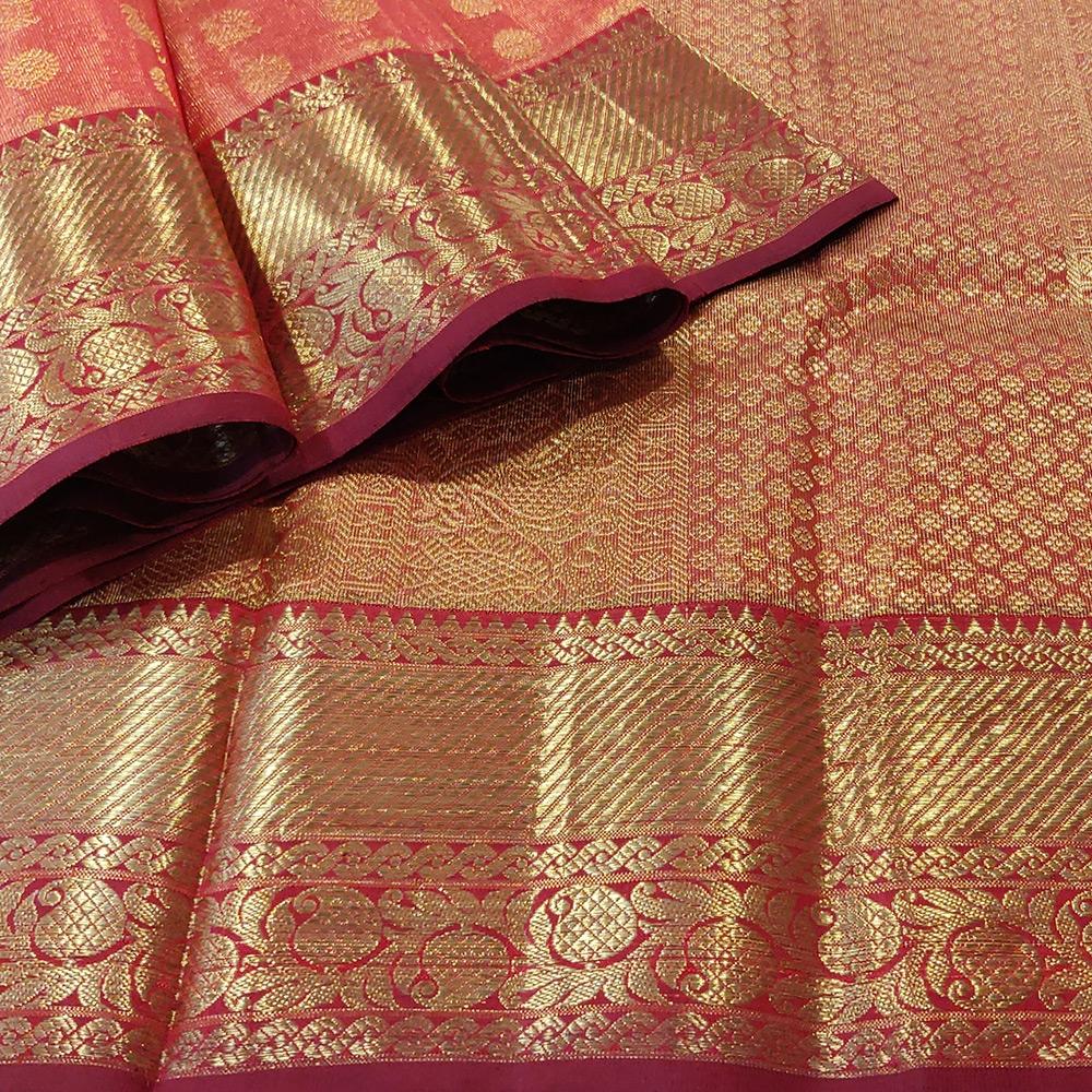 Vemillion Pink Kanchipuram Silk Saree With A Grand Zari Border-10048