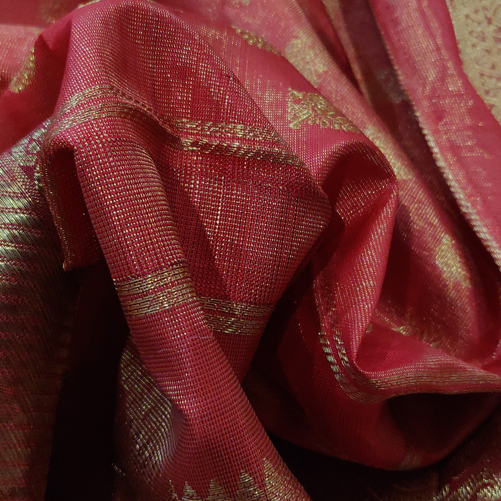 Vemillion Pink Kanchipuram Silk Saree With A Grand Zari Border-10049