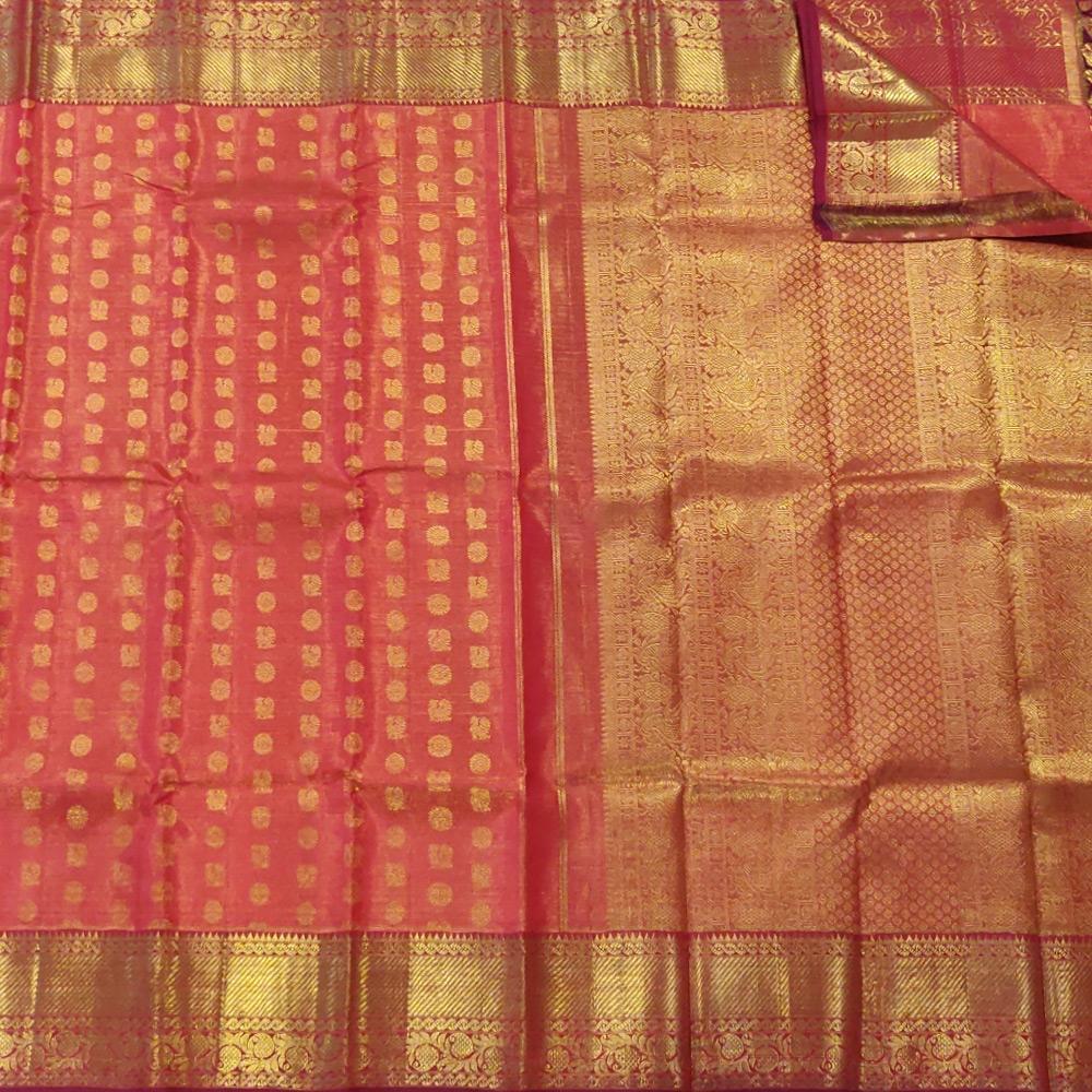 Vemillion Pink Kanchipuram Silk Saree With A Grand Zari Border-10046