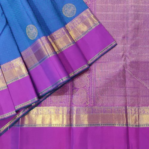 Blue Kanchipuram Silk Saree With Purple Zari Border-0