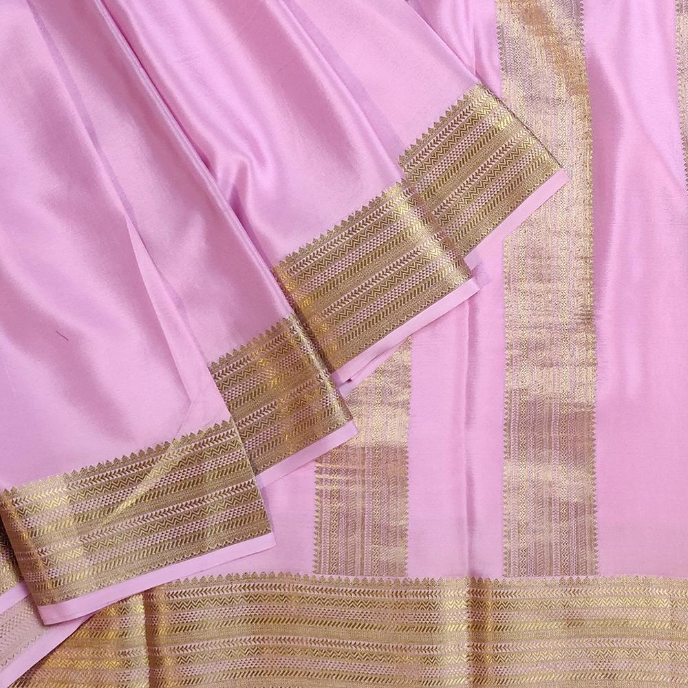 Baby Pink Mysore Silk Saree with Zari Border-0