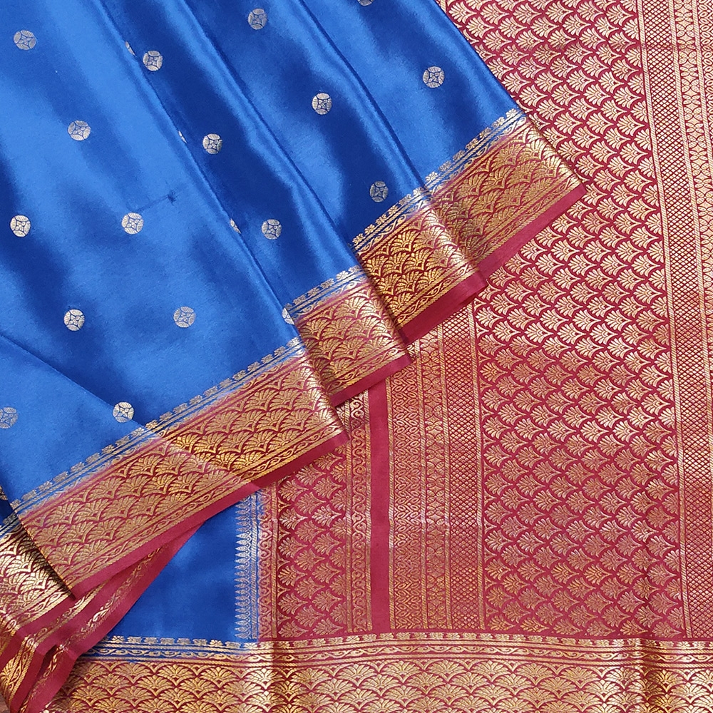 Blue Mysore Crepe Silk Saree With Red Zari Border-0