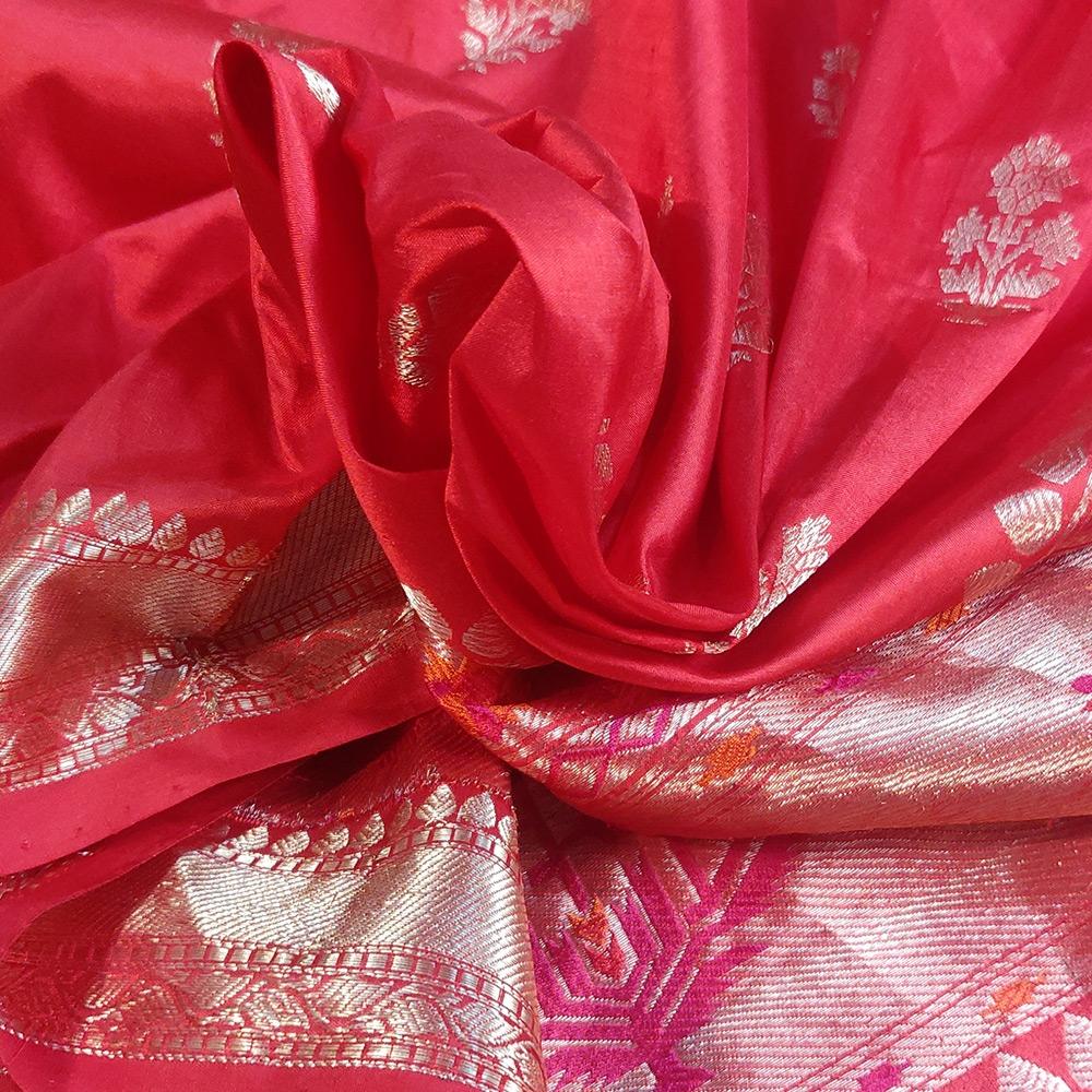 Red Banarasi Katan Silk Saree With Zari Flower Motifs-10093