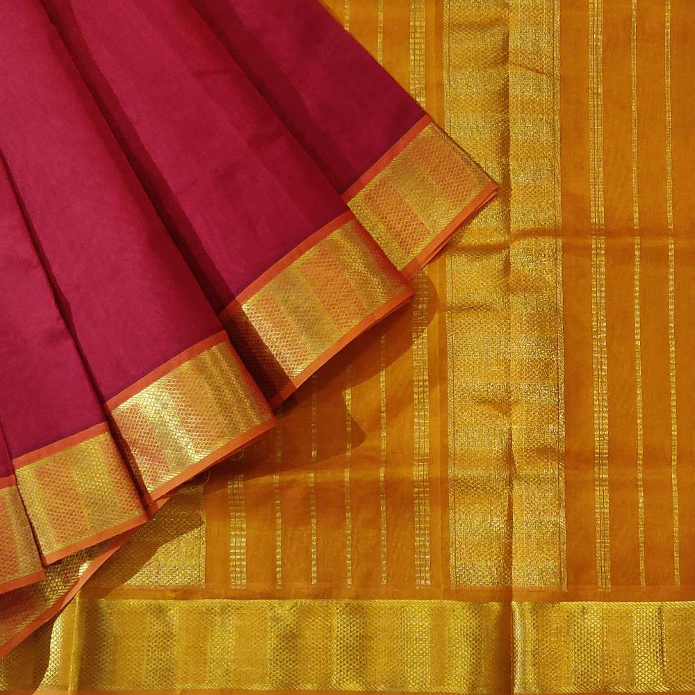 Dark Red Kanchipuram Silk Cotton Saree With A Golden Yellow Zari Border-0