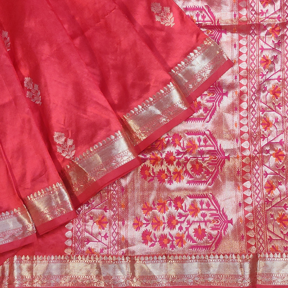 Red Banarasi Katan Silk Saree With Zari Flower Motifs-0