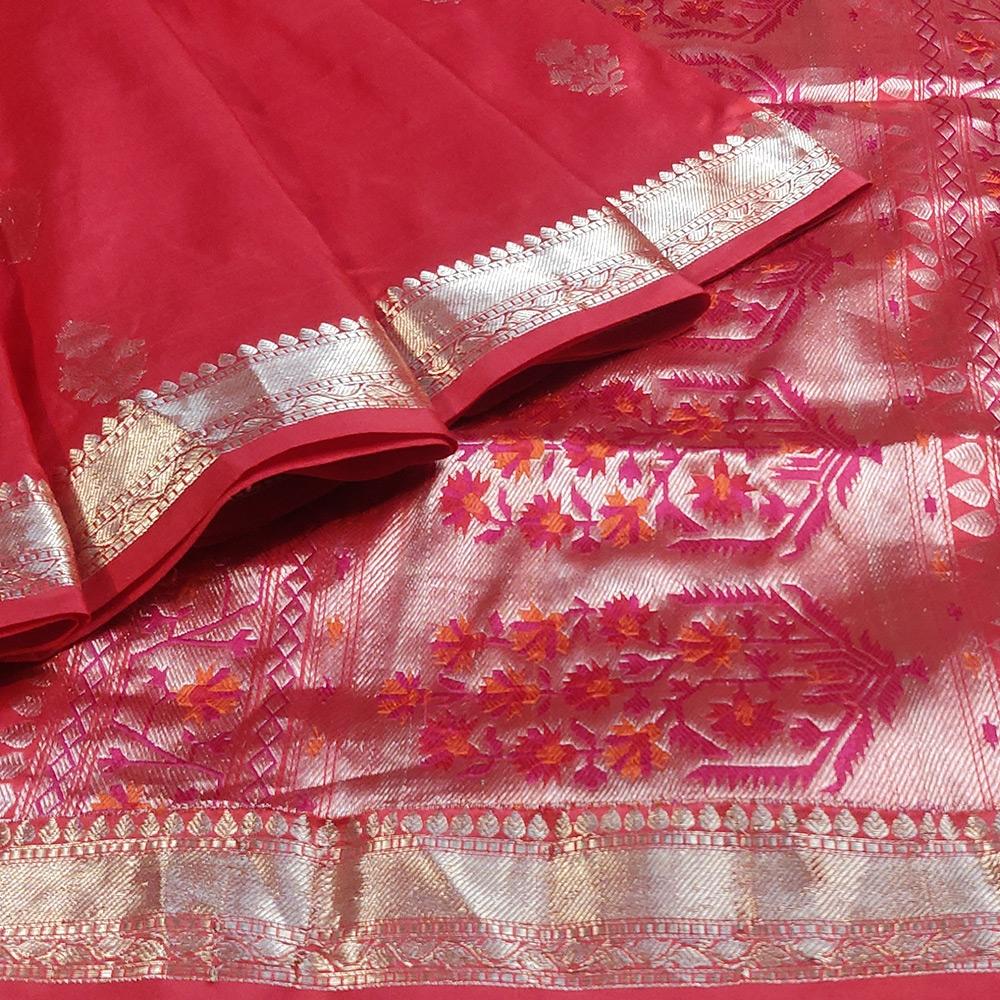 Red Banarasi Katan Silk Saree With Zari Flower Motifs-10091