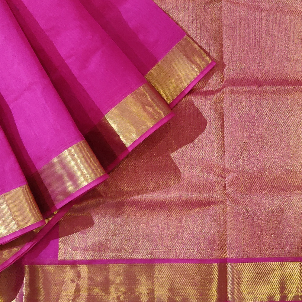 Dark Pink Kanchipuram Silk Cotton Saree With Zari Border-0