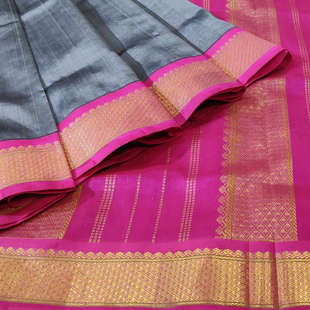Grey Kanchipuram Silk Cotton Saree With Pink Zari Border-10080