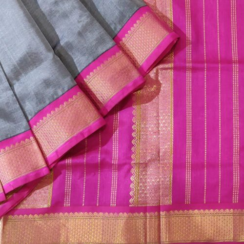 Grey Kanchipuram Silk Cotton Saree With Pink Zari Border-0