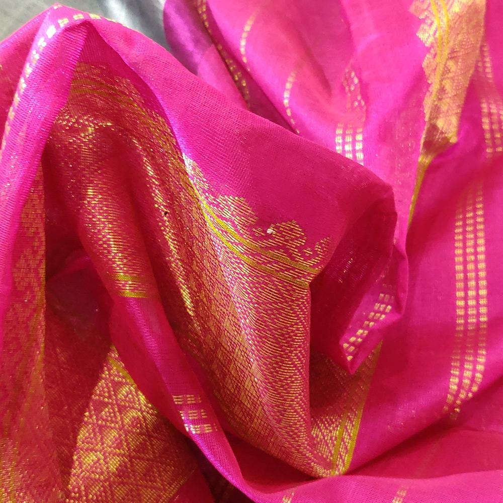 Grey Kanchipuram Silk Cotton Saree With Pink Zari Border-10077
